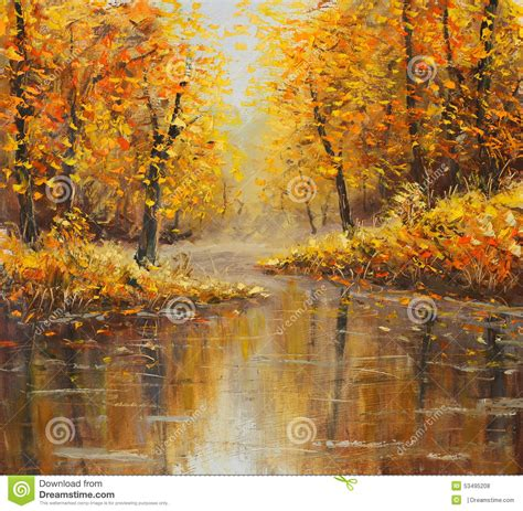 golden autumn in river yellow painting stock illustration image 53495208