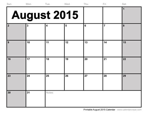 Free Printable August 2015 Calendar 6 best images of august 2015 calendar printable free