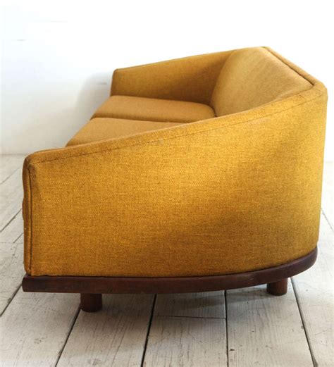Curved Fabric Sofa Mid Century Curved Back Sofa In Mustard Yellow Fabric At 1stdibs