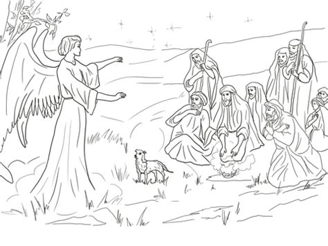 angels visit shepherds coloring page angel gabriel announcing the birth of christ to shepherds