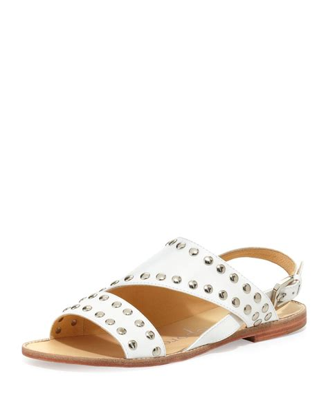 Sandal Studed nanette lepore time studded flat leather sandal in white lyst