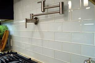 Kitchen Backsplash Glass Tile white 3 215 6 glass in a subway pattern is very elegant