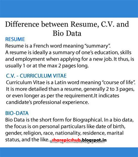 difference between resume curriculum vitae and bio data pics hub