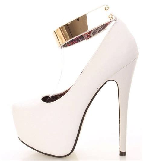 white ankle high heels shoes high heels white gold platform high heels ankle