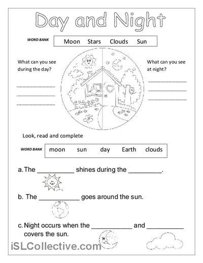 kindergarten activities day and night day and night worksheet free esl printable worksheets