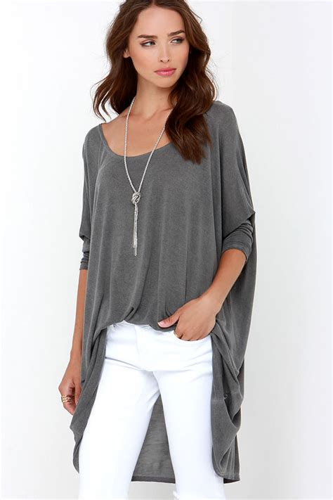 42589 Gray Oversize Top washed grey top oversized top sleeve top 61 00