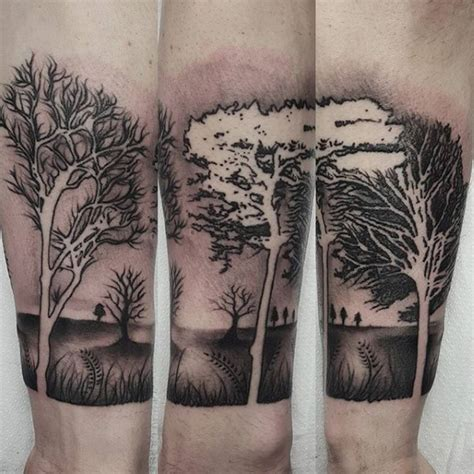 shaded tattoos for men 60 forearm tree designs for forest ink ideas