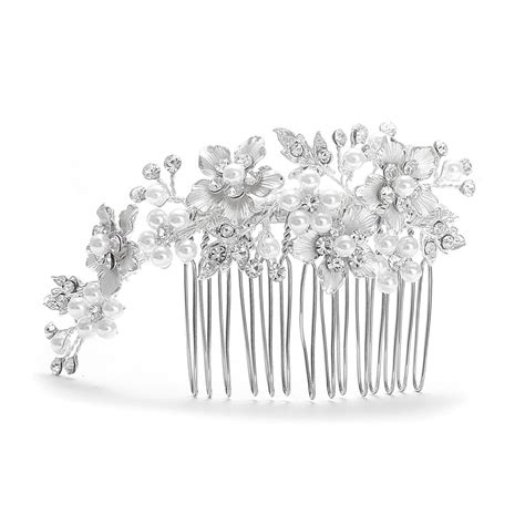 decorative hair combs decorative hair comb silver white pearl wedding comb side