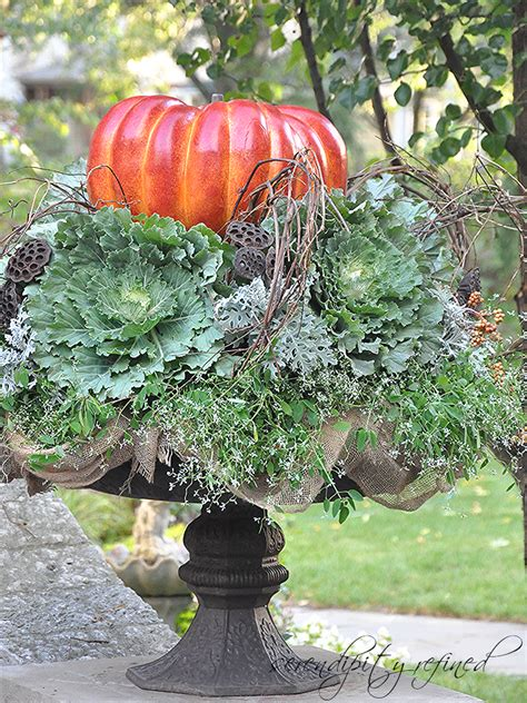 Decorated Cooking Urn by Serendipity Refined Blog Fall Pumpkin Planter A