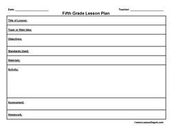 5th grade lesson plan template fifth grade lesson plan template education