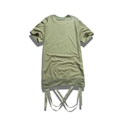 Detachable Ribbon Shirt t shirt with removable hem ribbon longline clothing