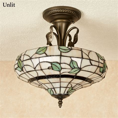 vining foliage stained glass ceiling light