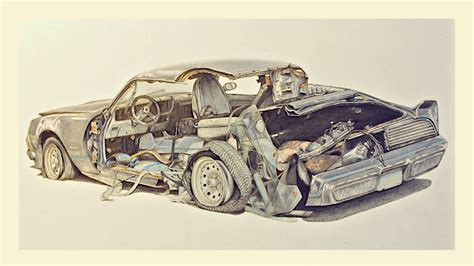 wrecked car drawing drawing time lapse in 30 hours2 fubiz media