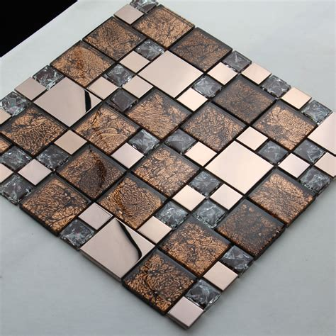 metal and glass blend mosaic tile brown crackle crystal