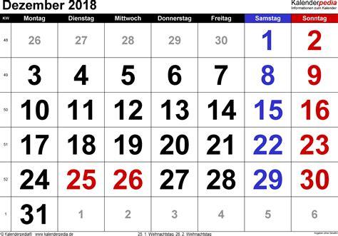 Kalender Dezember 2018 Kalender Dezember 2018 Als Pdf Vorlagen