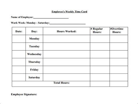 simple weekly time card template 15 time card calculator templates