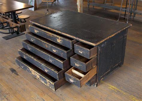vintage industrial antique wooden printers cabinet for