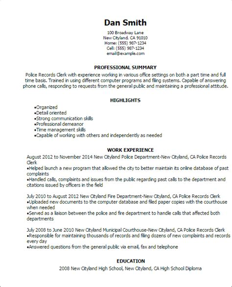 Records Clerk Resume by Records Clerk Resume Template Best Design Tips