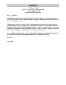 Assistant Cover Letter by Personal Assistant Cover Letter Exles For Admin Livecareer