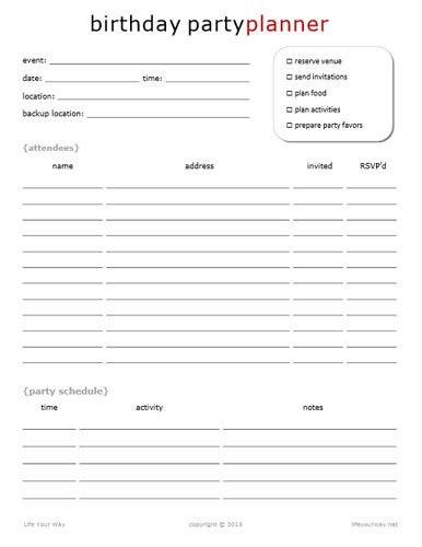 birthday party planning sheet everything i need on one home management notebook life your way