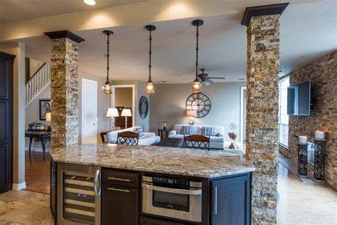 Kenroy Chandelier Rustic Kitchen With Columns Amp Pendant Light Zillow Digs