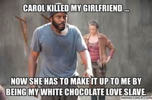 Carol Walking Dead Meme - tyreese and carol the walking dead