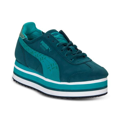 puma roma slim stacked casual sneakers  green lyst