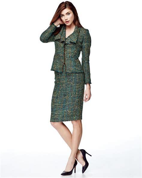 lafayette 148 new york empire tweed slim midi skirt in