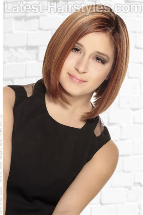 mid lenth beveled haircuts short hairstyle with beveled ends