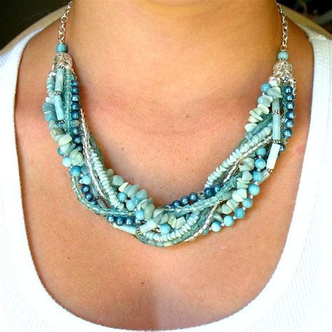 the bead jewelry beaded necklace seafoam multi strand beaded necklace with
