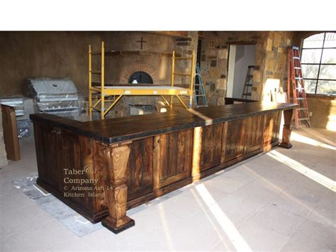 reclaimed old world solid wood kitchen island work counter taber company