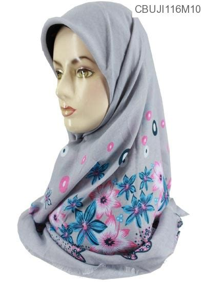 Jilbab Kamboja jilbab segi empat marocco motif bunga kamboja jilbab