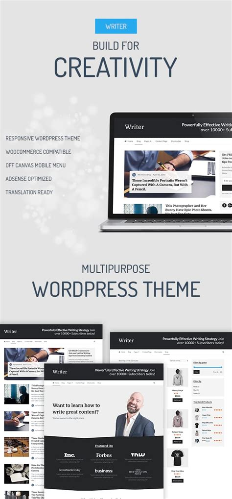 writer professional wordpress theme for writers