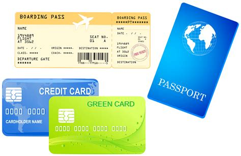 Credit Card Size Template Png by Credit Cards Ticket And Passport Png Clipart Image