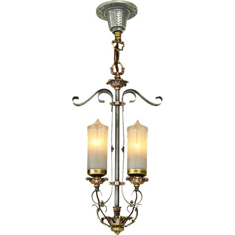 Candle Pendant Lighting 1920s Deco Candle Style 2 Light Pendant Ceiling Fixture Ant 500