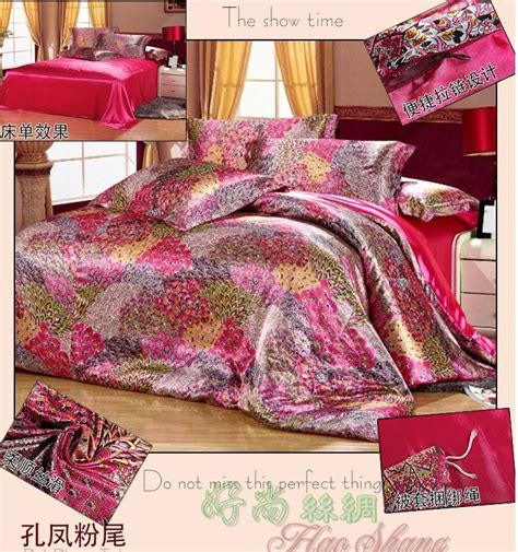 full size comforter cover mulberry silk hot pink peacock feather print bedding