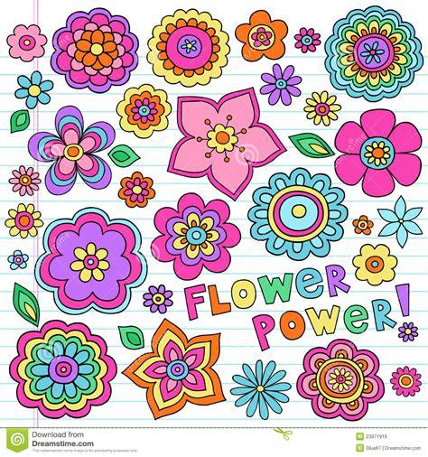 doodle flower vector illustration psychedelic flower power doodles vector set royalty free