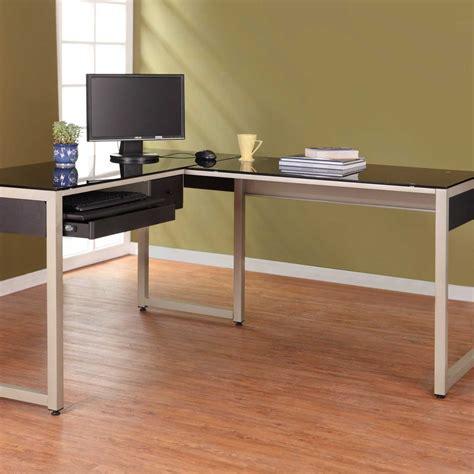 l shaped glass computer black glass computer desk for home office