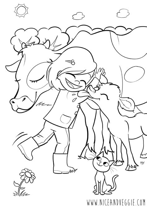 girl with calf and cow coloring pages for children