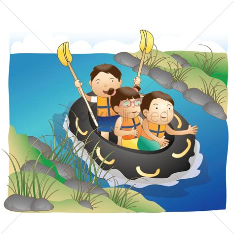 river boat graphics children boat rafting in river vector image 1509743
