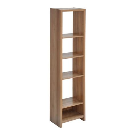 narrow unit walnut finish shelving storage