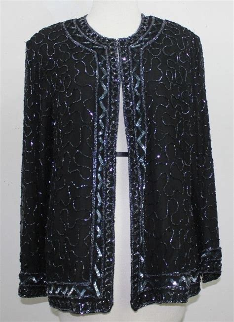 beaded evening jackets jmd sz l black silk beaded evening jacket b53 ebay