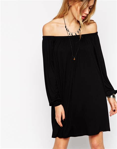 off the shoulder swing dress asos tall swing dress with off shoulder gypsy detail in