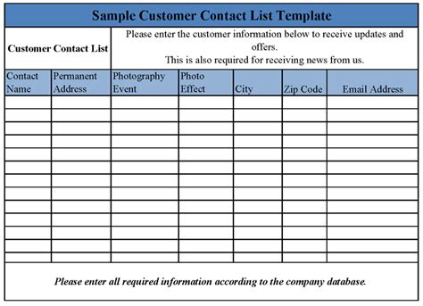 customer list template customer contact list template sle templates