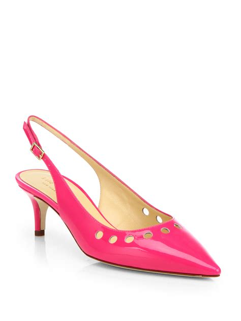 kate spade sella perforated patent leather kittenheels in