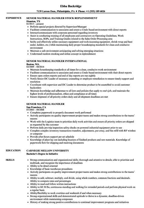 material handler resume exles senior material handler resume sles velvet