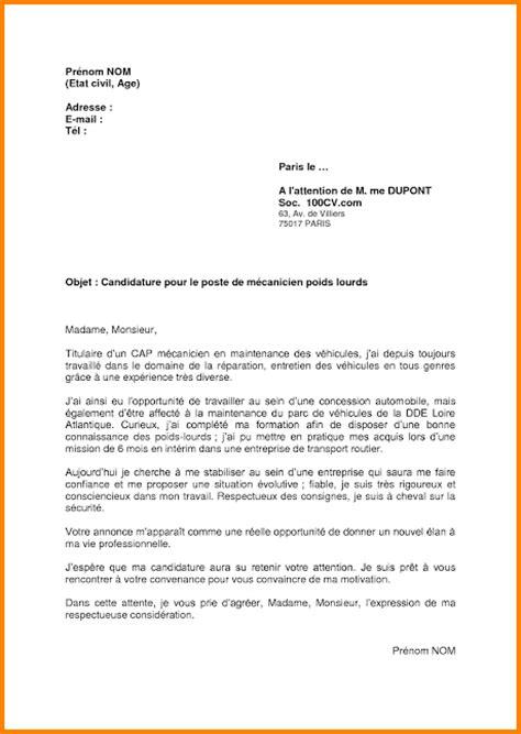 Lettre De Motivation De Transport Routier 8 Lettre De Motivation M 233 Canicien Format Lettre