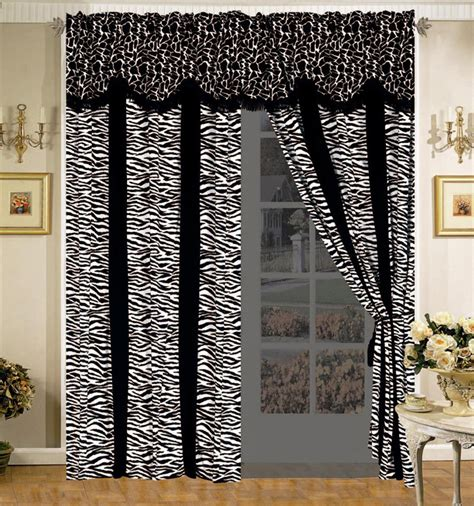 giraffe curtains 4 pc safari micro fur curtain set giraffe zebra black