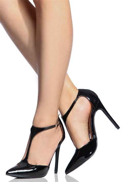 heels t in black by black faux patent leather pointed toe t heels