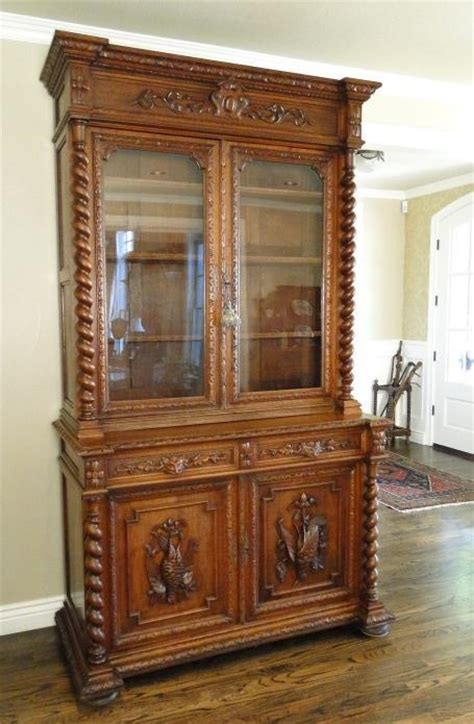 Antique French Hunt Cabinet Hutch Buffet Bookcase Louis Vintage Buffet And Hutch